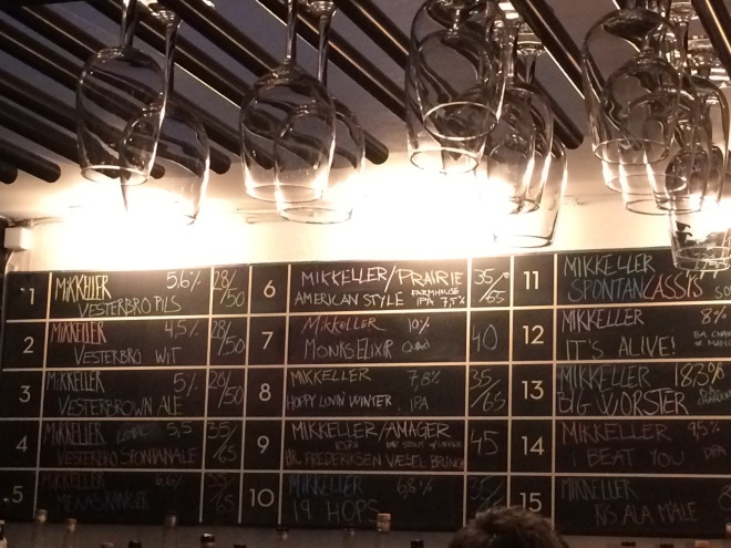 Beer list at Mikkeller